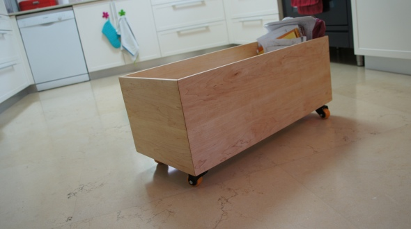 large Maple box on wheels